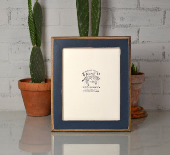 8x10 Picture Frame In 2 Tone Style With Vintage Navy Blue Finish