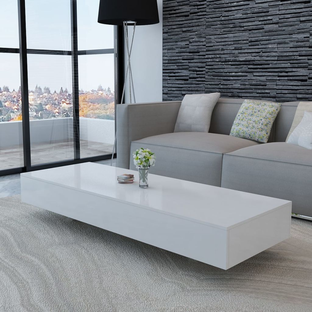 H4home White High Gloss Large Coffee Table Furniture