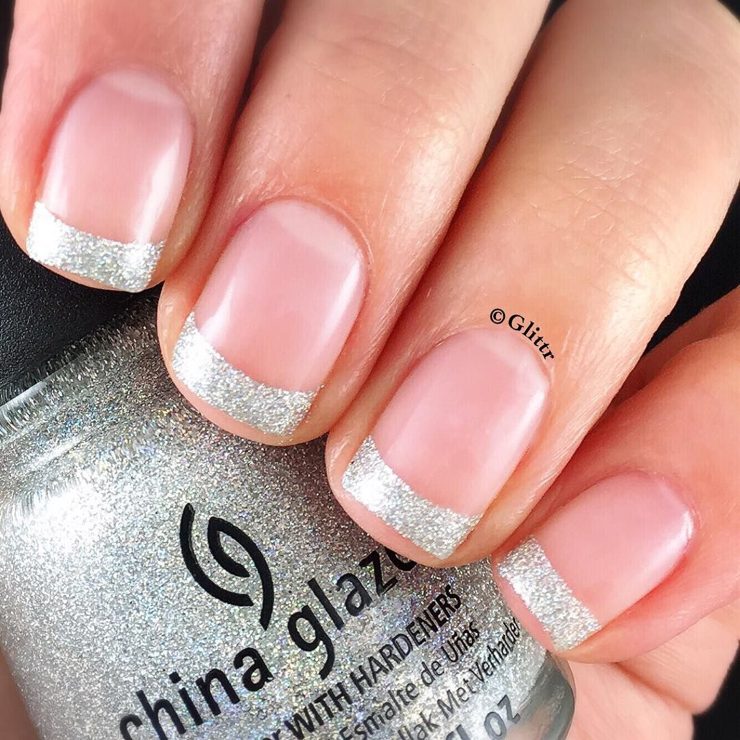 Glittery Silver French Nails | Wedding Ideas | Pinterest | French nails