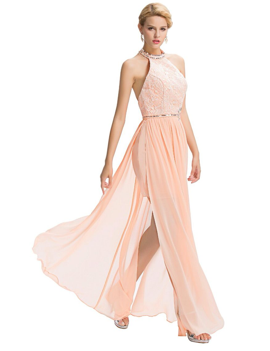 Peach pinkfast shipping evening dresses with open back