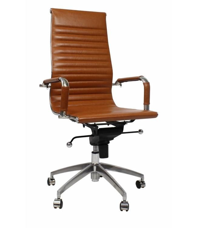Luxe Leren Bureaustoel.Leren Design Bureaustoel Upton Cognac Absurd Lage Prijs