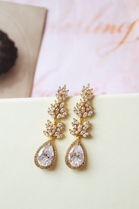 Gold Vintage Style Bridal Earrings Art Deco Crystal Wedding Teardrop Uk Pinterest Support Small Business