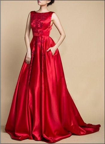Vintage-inspired red satin gown, referencing Old Hollywood glamour ...