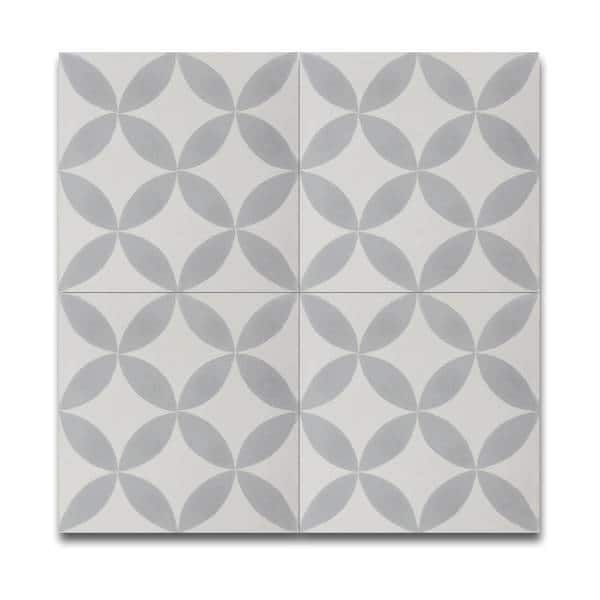 Amlo Grey And White Handmade Moroccan X Inch Cement And Granite - 8 inch square ceramic tiles