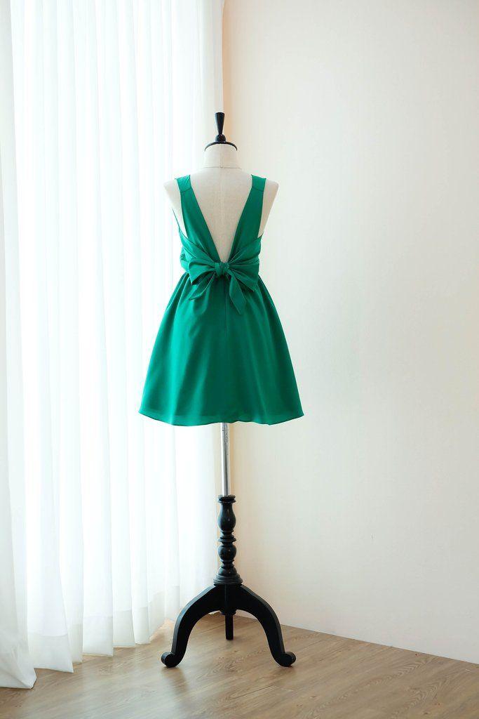 b7b40ec1ad8c Grass green backless short bridesmaid dresses - KEERATIKA KATE