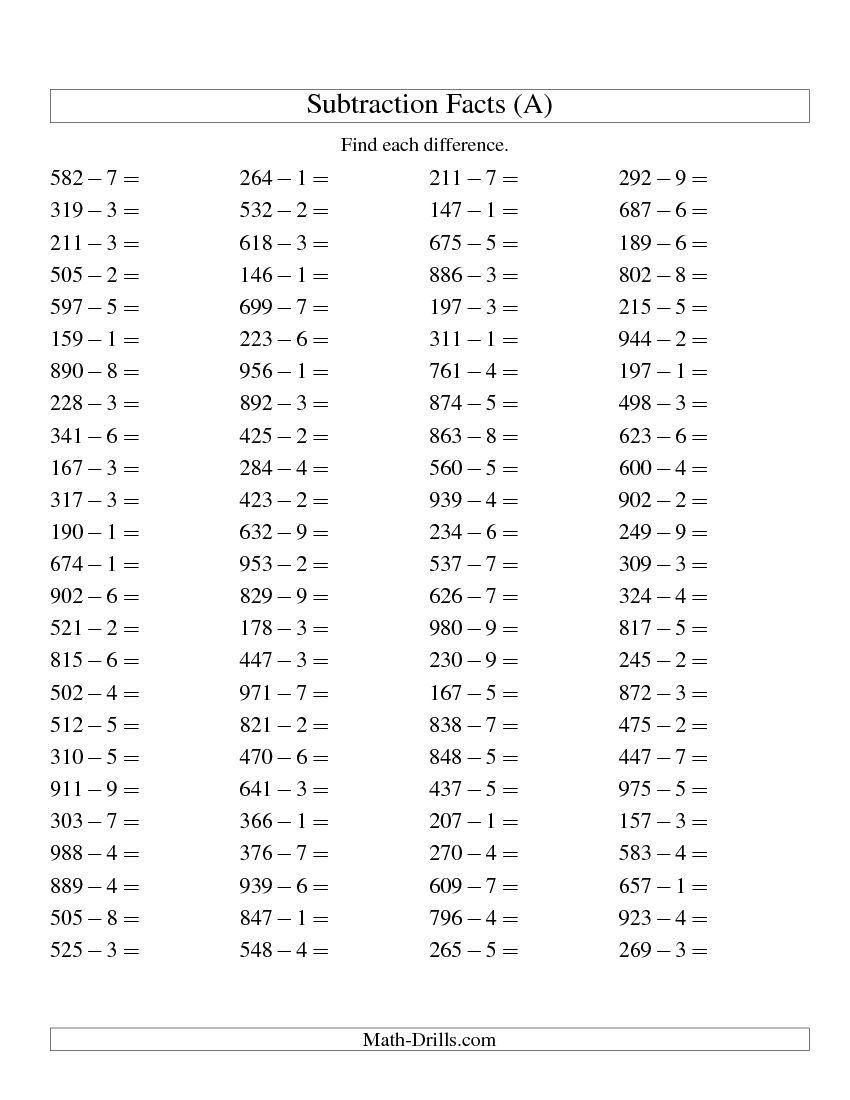 Three-Digit Minus One-Digit Subtraction -- Horizontal (A ...