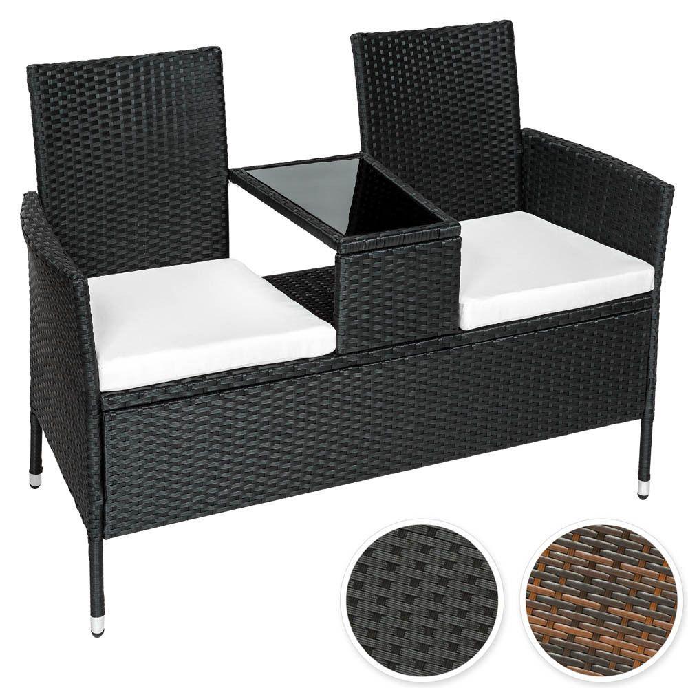 Details zu Poly Rattan Gartenmöbel Sitzbank mit Tisch Lounge Bank ...