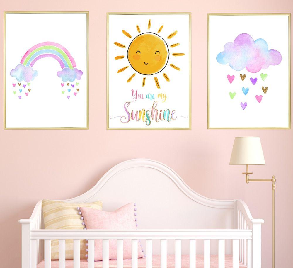 Cute Kawaii Cloud Modern Nursery Print Baby Christening Wall Art Picture Poster