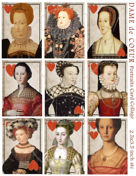 DAME de COEUR  Vintage Play Card Collage by StudioSouthernValley, $3.75