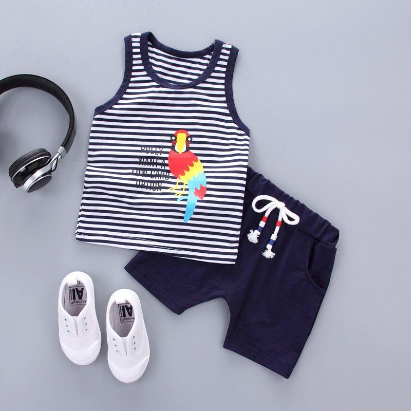 Toddler Baby Kids Girl Boys Sleeveless Cartoon Print Vest Tops Shorts Casual Set