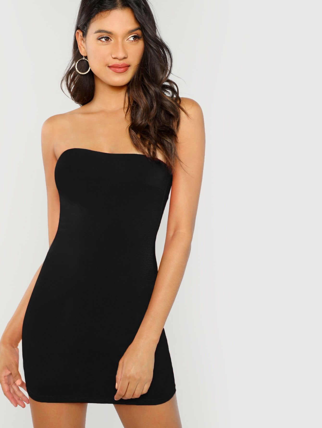 26558bbf93 Party and Sexy Tube Plain Bodycon Strapless Sleeveless Natural Black Short  Length Form Fitting Bandeau Dress