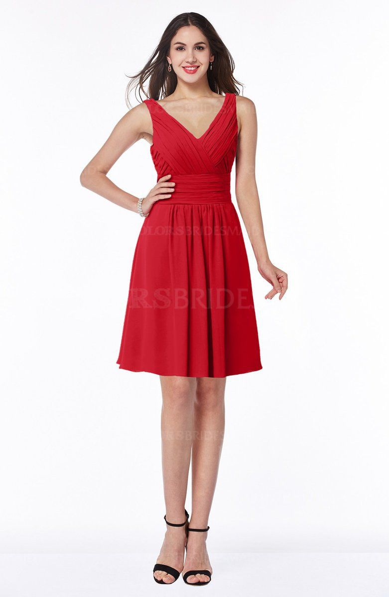 Red plain sleeveless half backless chiffon knee length ruching plus