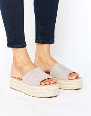 d3a0e064039 £28 Glamorous Grey Flatform Slide Espadrille Flat Sandals