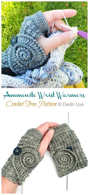 Ammonite Wrist Warmers Crochet Free Pattern - Crochet & Knitting #knitcrochet