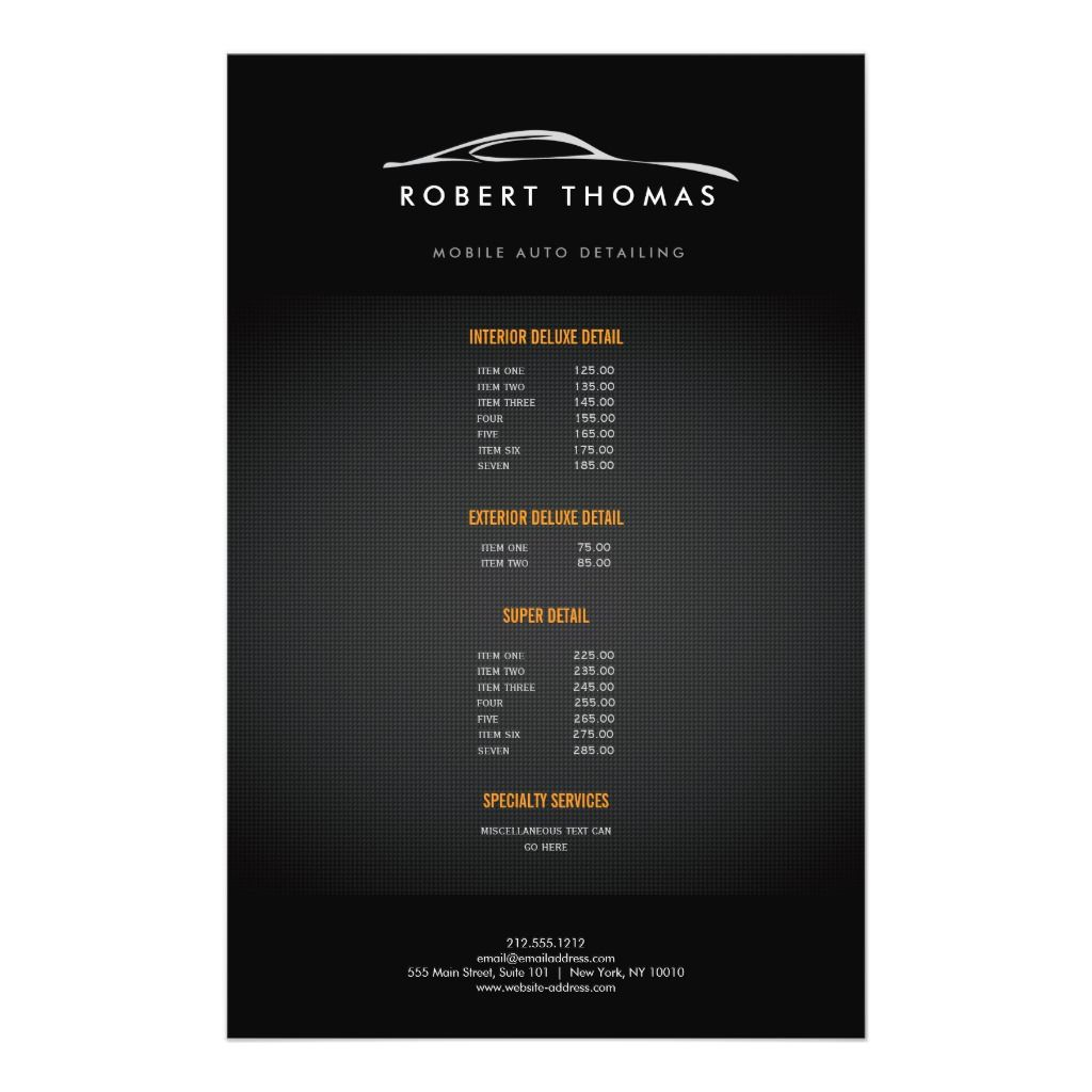 BLACK AUTO DETAILING, AUTO REPAIR FLYER | Zazzle.com