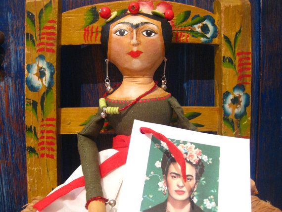 Sale ! Frida Kahlo Mexican Artist Cloth Doll in Green