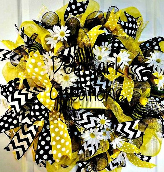 Yellow and Black Bumble Bees & Daisies Mesh by Debmarkcreations