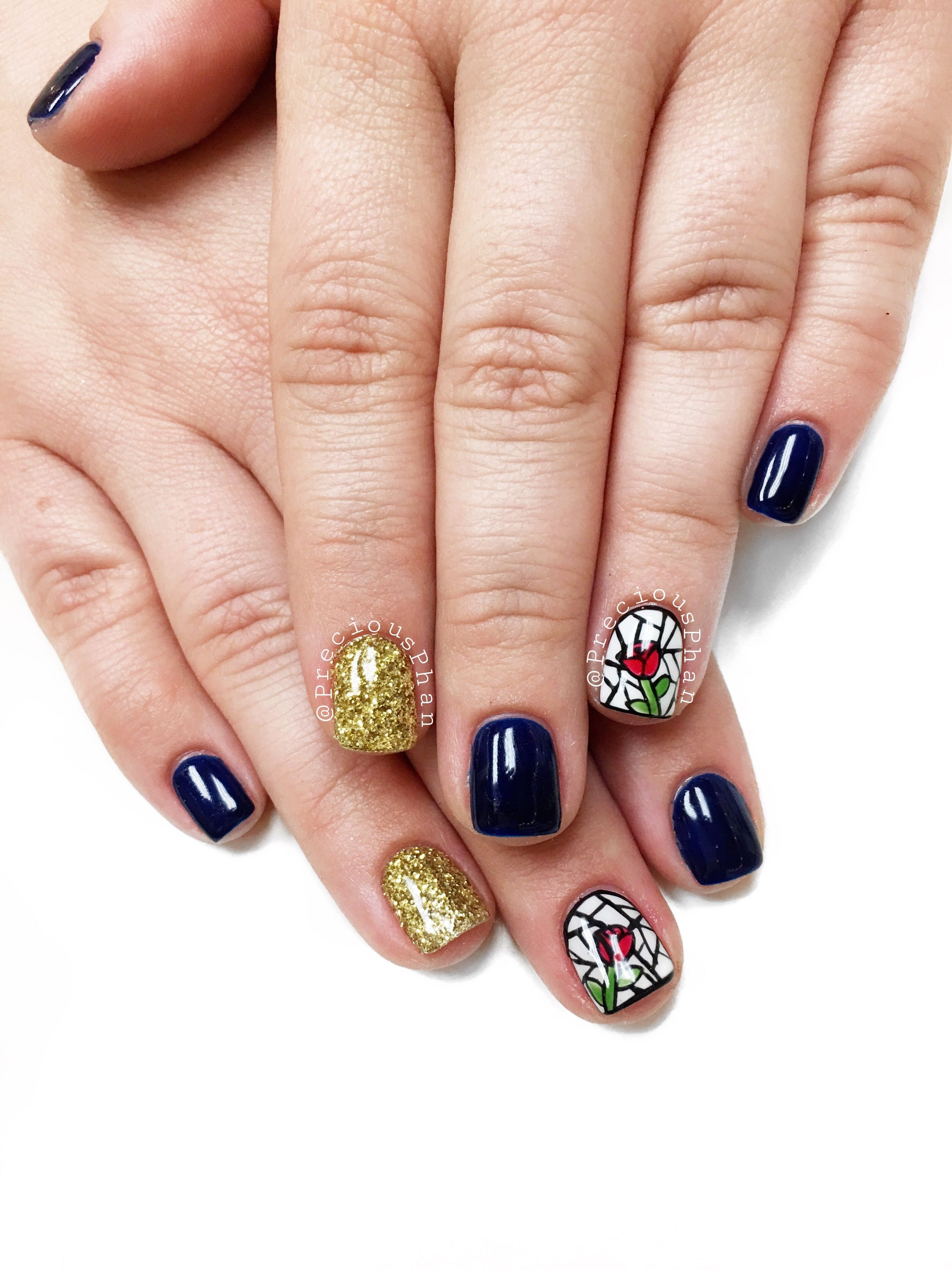Beauty and the beast. Disney nails. Rose. Gold loose glitter nails ...