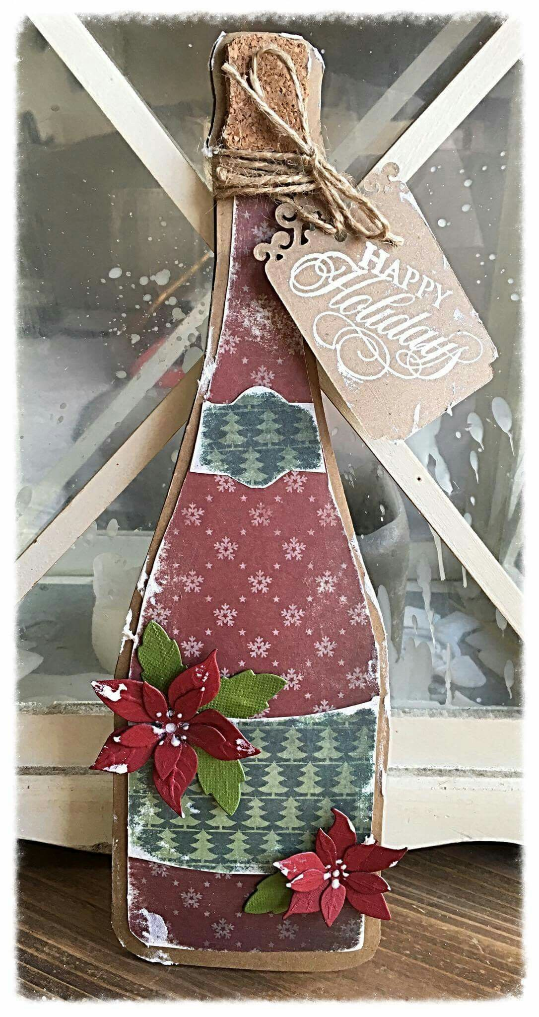 Pin By Silvia Janson On 470 713 602 Dutch Doobadoo Card Art Champagne Bottle Christmas Card Inspiration Christmas Cards Xmas Cards