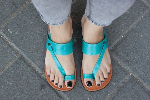 a00b32873ce73 Turquoise Leather Sandals,Asymmetric Sandals, Summer Shoes ...