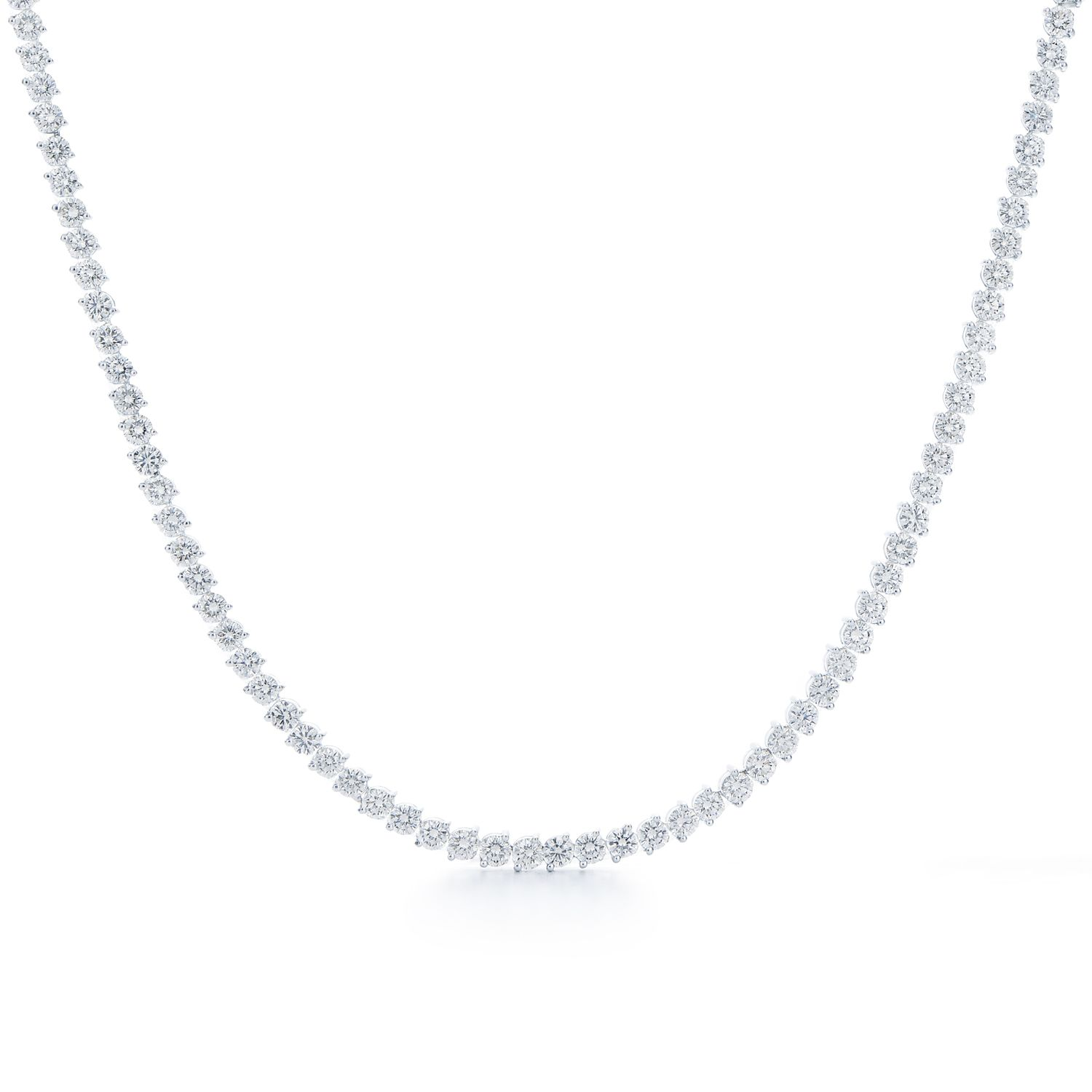Diamond Line Necklace In 18k White Gold Riviera Diamond Necklace Style 9395 15 Kwiat Diamond Necklace Diamond Jewelry