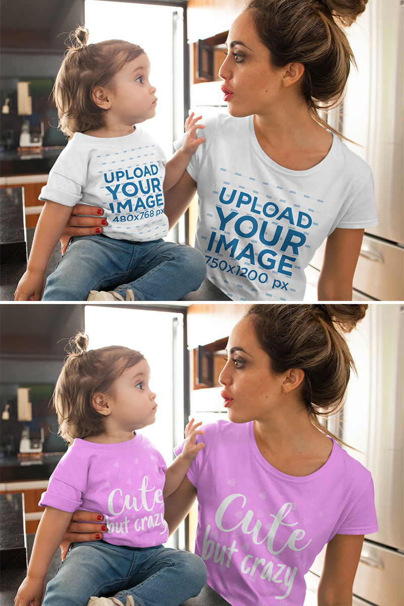 Download Mom With Her Girl Wearing T Shirts Mockup While Doing Faces To Each Other Clothing Mockup Shirt Mockup Women