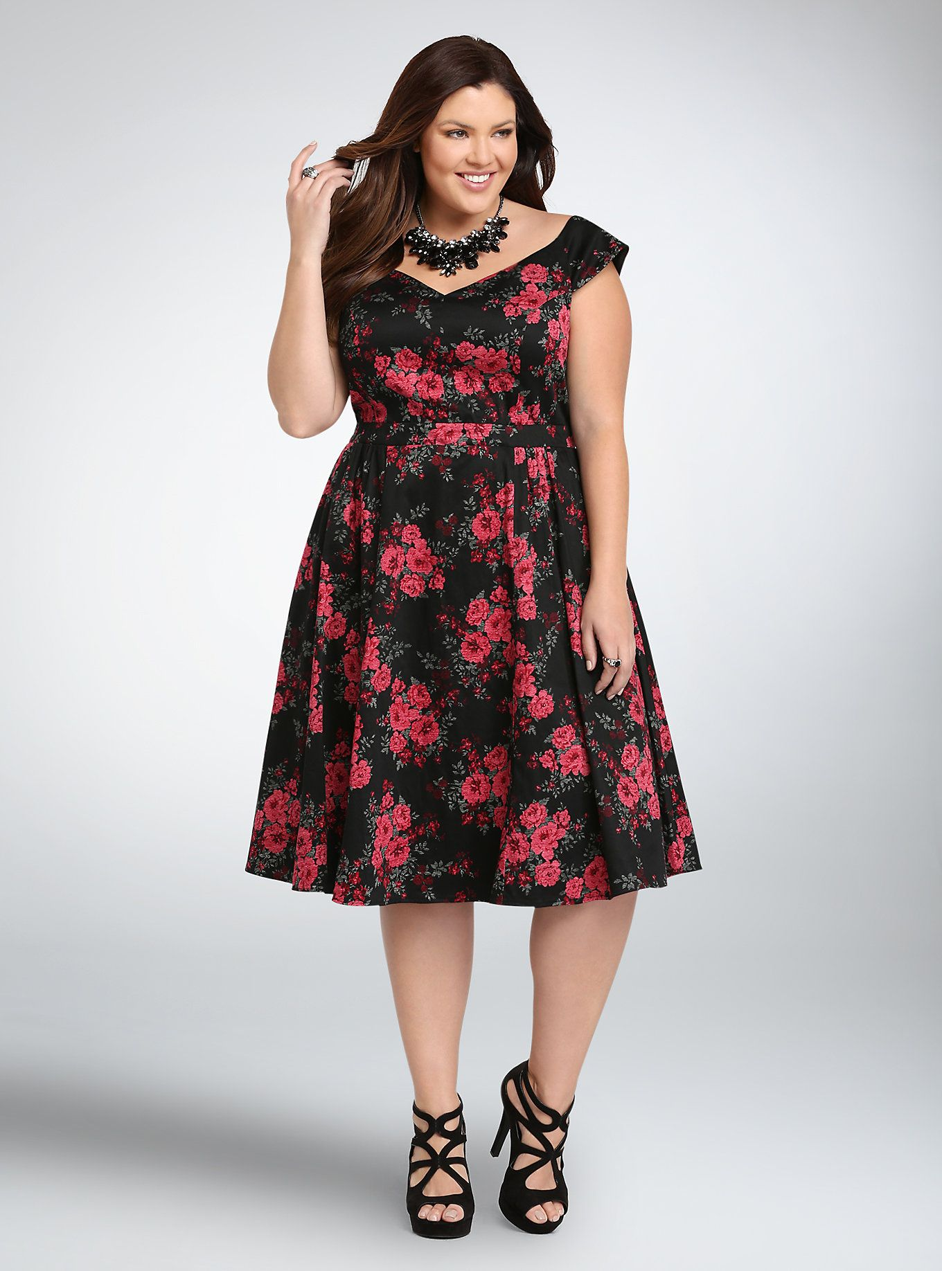 Floral Off the Shoulder Swing Dress | Clothes | Plus size ...