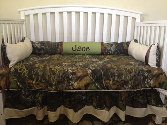 Camo Mossy Oak And Sage Ivory 4 Pc Crib Bedding Set With Minky Dots Free Monograms On Etsy 259 00