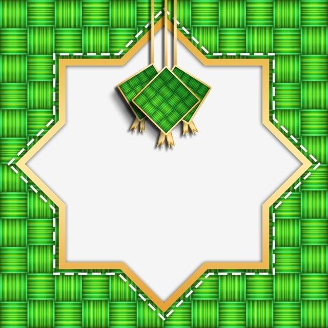 Ketupat Geometric Islamic Border With Gold Stroke, Ketupat