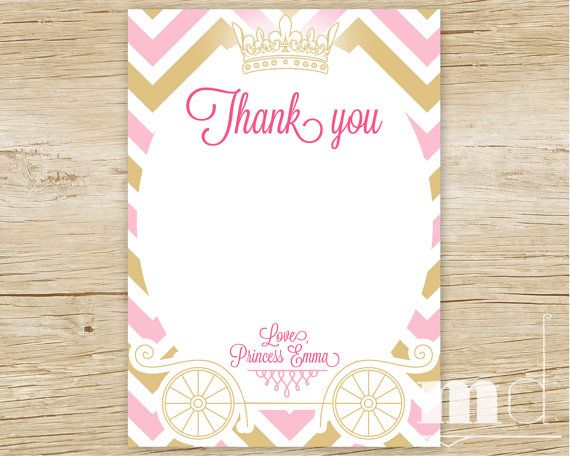 Princess Birthday Thank You Card Gold And Pink Chevron Thank You