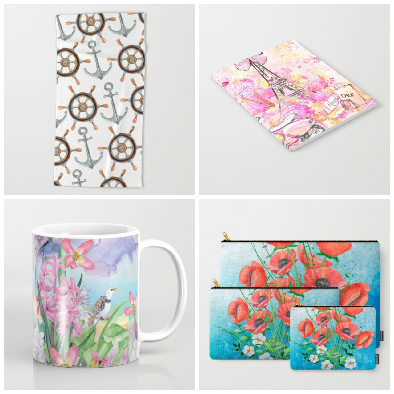Newest #nautical #fashion #flowers Available in different products #towels #notebook #mugs #carryallpouches etc. Check more designs at society6.com/julianarw