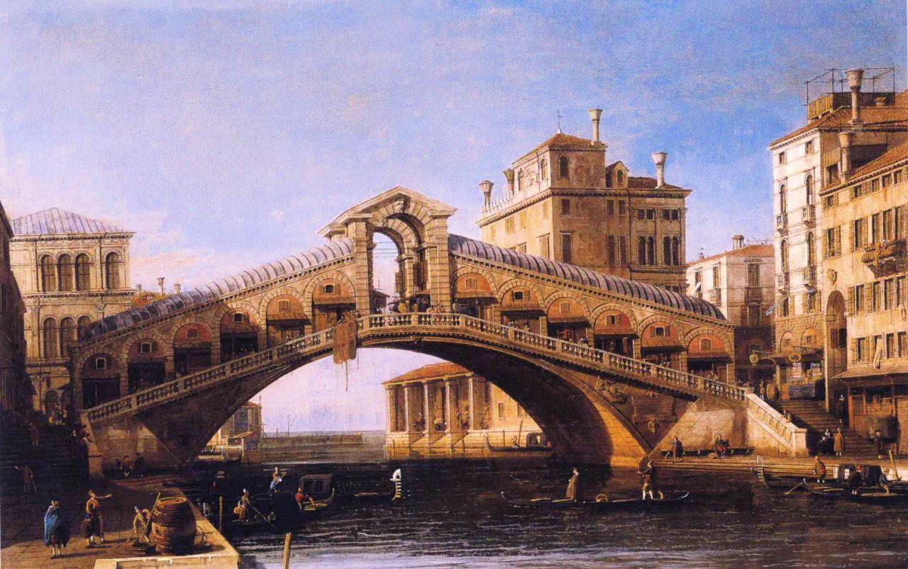 Capriccio of the Rialto Bridge with the Lagoon Beyond, Canaletto, 1746