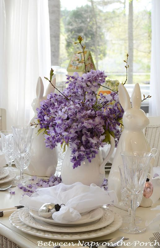 Easter Tablescapes Table Settings With Wisteria And Bunny Centerpiece Pottery Barn Plates