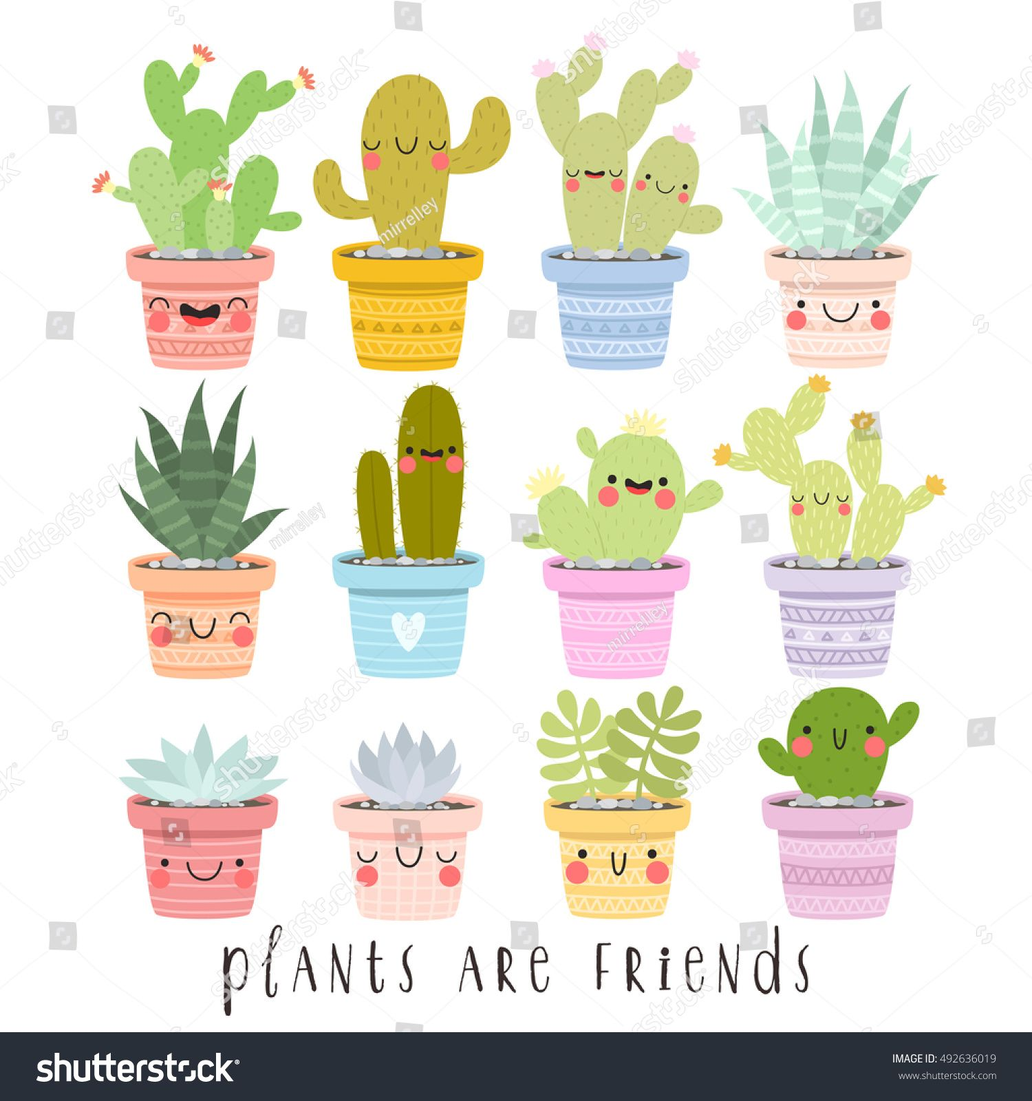 New Funny Face Big Set Illustrations Cute Cartoon Cactus Stock Vector (Royalty Free) 492636019 big set of illustrations of cute cartoon cactus and succulents with funny faces in pots and with plants are friends text message. can be used for cards, invitations or like sticker 6