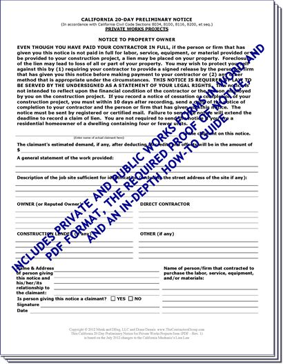 California Preliminary Lien Notice Forms Package (includes Private - Service Forms In Pdf
