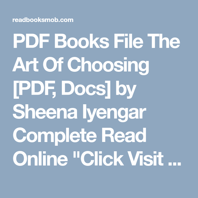 Pdf books file the art of choosing pdf docs by sheena iyengar pdf books file the art of choosing pdf docs by sheena iyengar complete fandeluxe Images