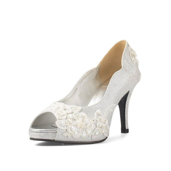 Jill Twilight Silver Glitter Wedding Heels With By Christyngshoes
