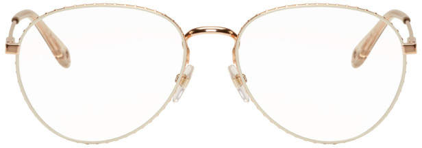 56ca34f6d5eb Givenchy Gold and Transparent Studded Edge Aviator Glasses | GoGGs ...