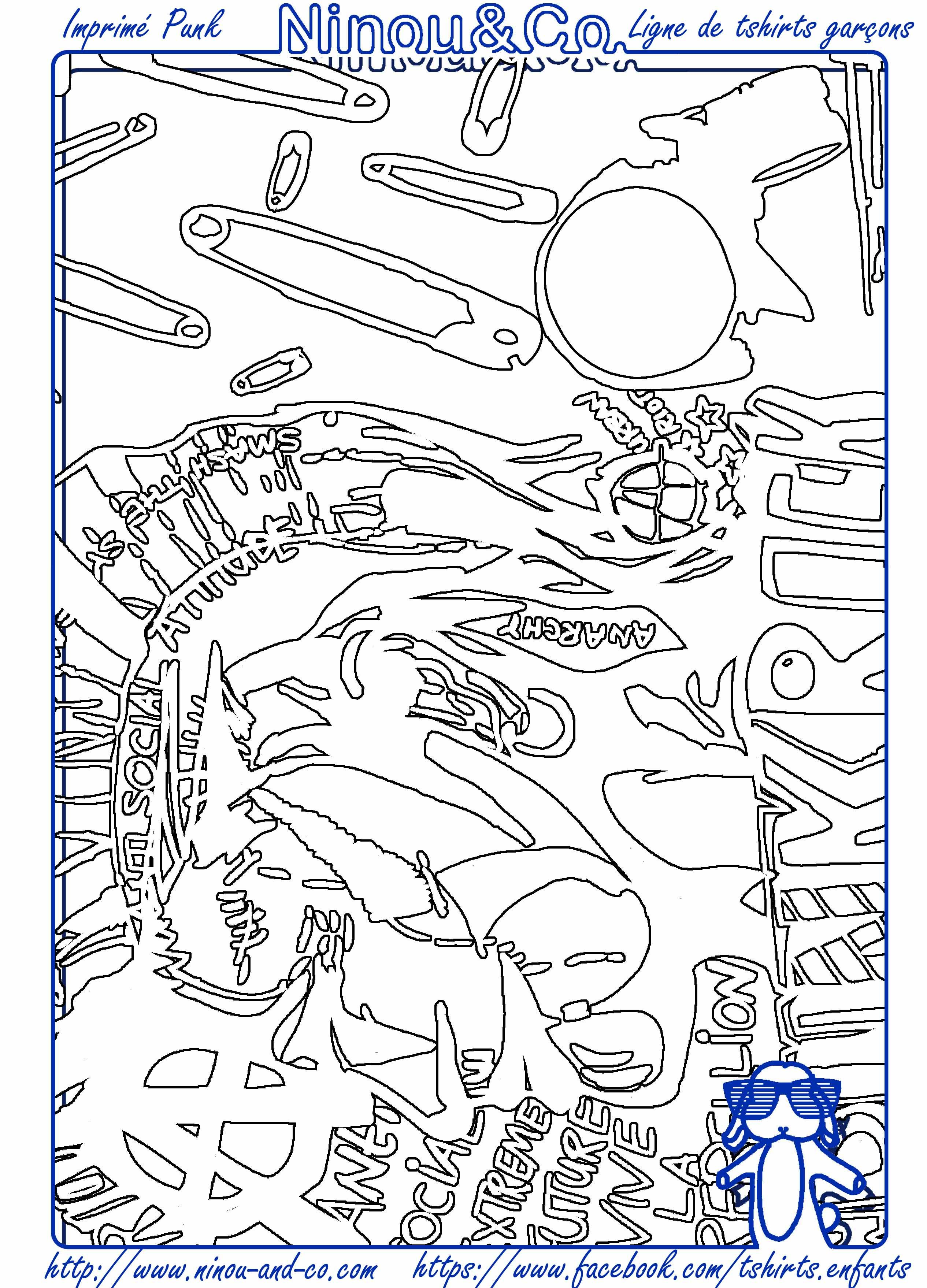 Notre imprimé PUNK prêt à être colorié par vos Ninou. N\'hésitez pas ...