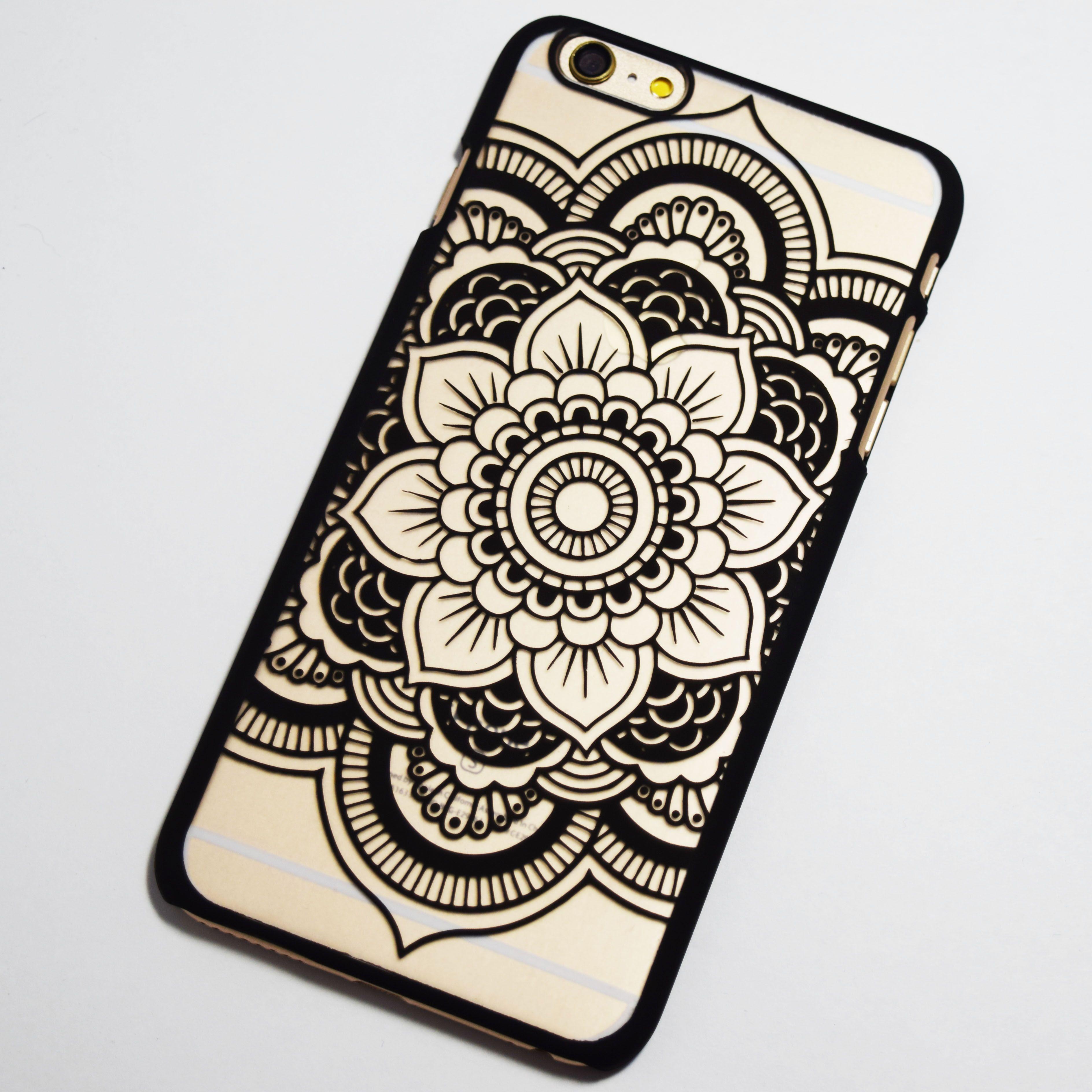 Black Henna Flower iPhone 6 Plus / 6S Plus Hard Case - Retailite ...