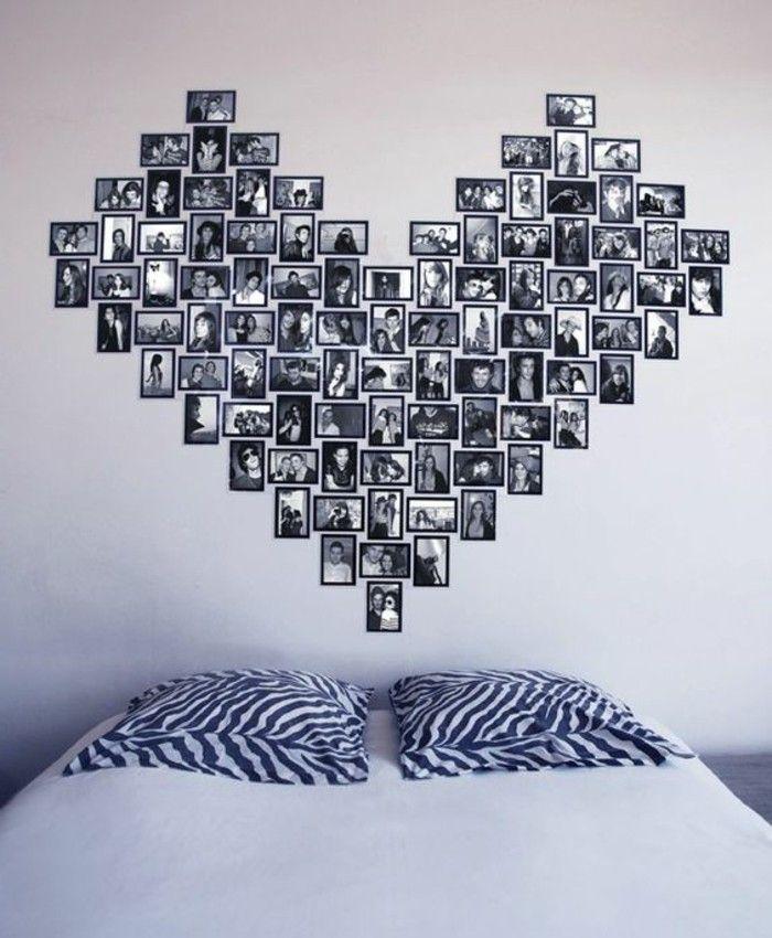 6 deko ideen schlafzimmer herz aus fotos bett kissen - deko ideen schlafzimmer wand