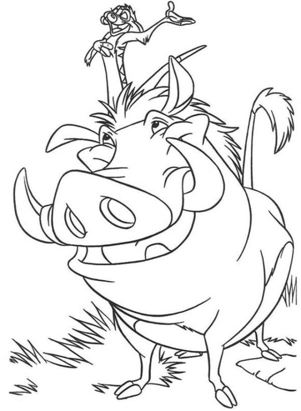 Timon And Pumbaa The Lion King Coloring Page Coloring 4 Kids