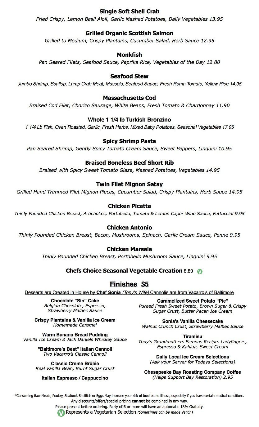 Chef Tony S Fresh Seafood Restaurant Of Bethesda Sample Lunch Menu Lunch Menu Seafood Stew Seafood Sauce