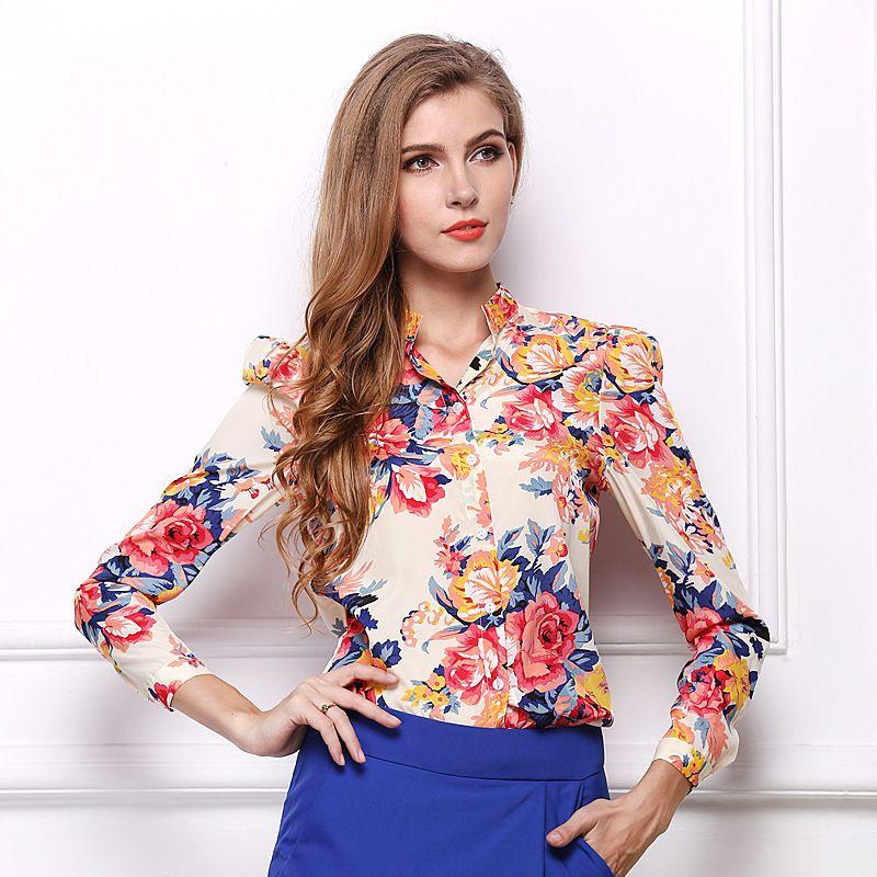 409e872ae40d Women Ukraine Long Sleeve White Large Autumn Flower Chiffon Shirts Plus  Size Vintage Cardigan Korean Fashion