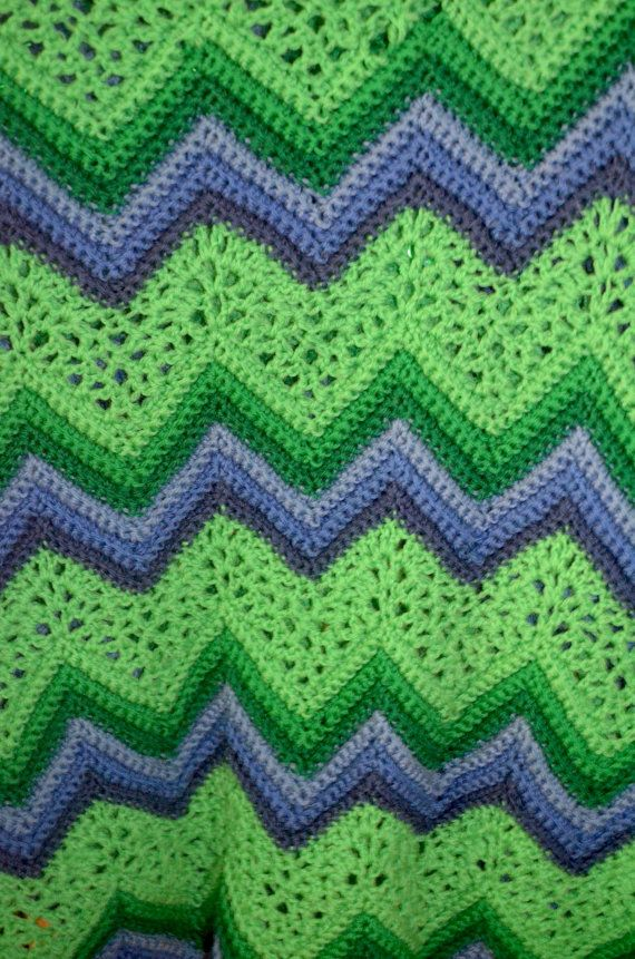 Vintage Handmade Afghan Crochet Chevron Ripple Green and Purple ...