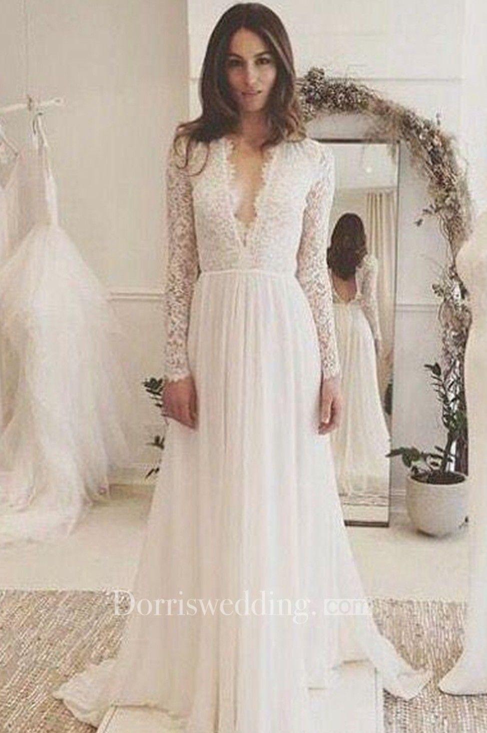 Boho wedding dress with sleeves  Vneck Long Sleeves Backless Ivory Chiffon Wedding Dress with Lace