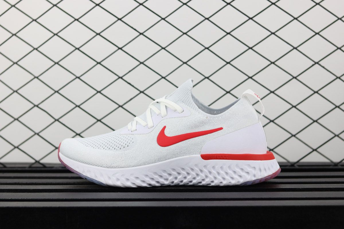 6954e6e38e626 Nike Epic React Flyknit White Red For Sale – Jordans For All ...