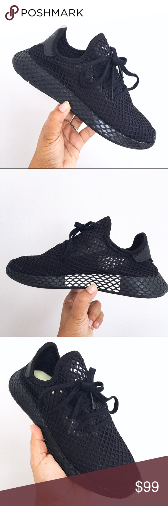 5d5cda9aa Adidas Originals Black Deerupt Runner J Runner Brand New In Box with Lid  Adidas Deerupt Runner J Black White B41877 - lightweight - web wrapped EVA  midsole ...