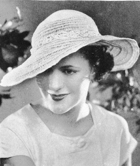 1930s Fashion Sun Hat Vintage Crochet by VintagePatternPlace 17eba028f09