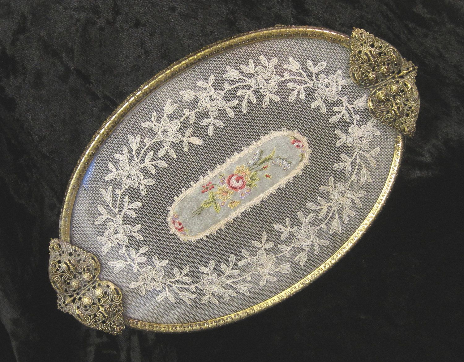 Antique vanity tray with lace insert - Brass Filigree Dressing Table Vanity Tray With Petit Point Embroidery And Lace Insert By Thewhistlingman On